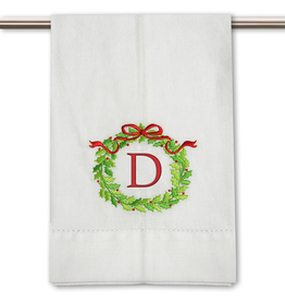 Peking Handicraft Monogramed Christmas Wreath Guest Towel Embroidered Letter D