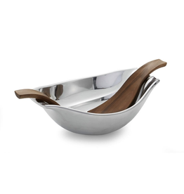 Nambe Drift Serving Bowl Large with Wood Servers
