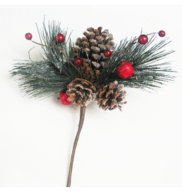 Kurt Adler Christmas Pinecone With Red Berries Spray Flowers Floral