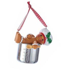 Kurt Adler Gingerbread Chef Boy Utensil Ornament Resting On Pot