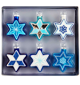 Kurt Adler Jewish Star of David Glass Ornaments 6pk | Judaic Holiday