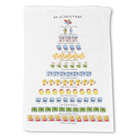 Peking Handicraft Holiday Flour Sack Kitchen Tea Towel An eChristmas 12 Days Towel