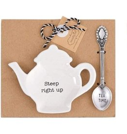 Mud Pie Teapot Spoon Rest Tea Bag Holder Steep Right Up