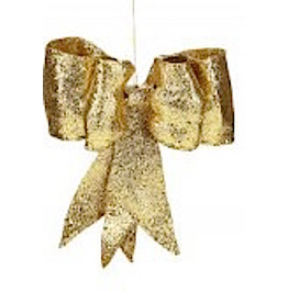 Mark Roberts Christmas Decorations Gold Glitter Bow SM 8 Inch