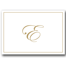 Caspari Gold Embossed Initial Note Cards Letter E Boxed Set of 8