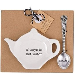 Mud Pie Teapot Spoon Rest Tea Bag Holder Always In Hot Water