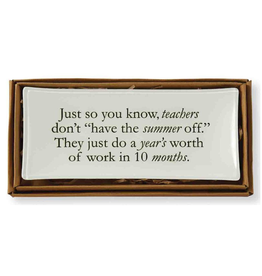 Mud Pie Teacher Tray Decopage Style w Quote 4x9 inch 4225008S Mud Pie Gifts