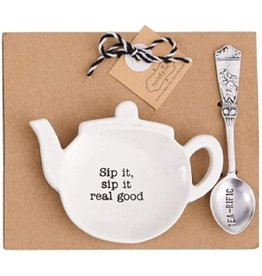 Mud Pie Teapot Spoon Rest Tea Bag Holder Set Sip It Real Good,