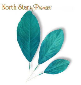 Premier Glittered Edge Aqua Teal Blue Leaf 3 Sizes Set of 9