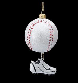 Kurt Adler Noble Gems Glass Baseball w Shoe