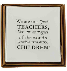Mud Pie Teacher Tray Decopage Style w Quote 6x6 inch 4225008C Mud Pie Gifts