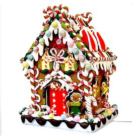 Kurt Adler Gingerbread House Lighted W Clay-Dough Candy On Metal Base