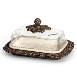 GG Collection Acanthus Ceramic Butter Dish W Glass Dome 9L Inch