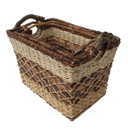 Gallerie II Rustic Woven Rectangular Basket Large -C