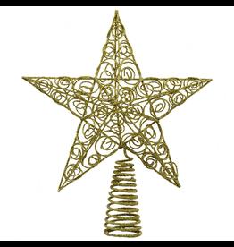 Kurt Adler Christmas Star Tree Topper Gold Wire Glittered 10 inch