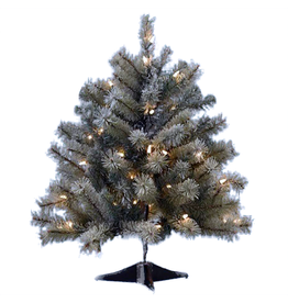 Kurt Adler Christmas Tree Pre-Lit 24 Inch Flocked Mini Tree
