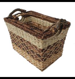 Gallerie II Rustic Woven Rectangular Basket Medium -B