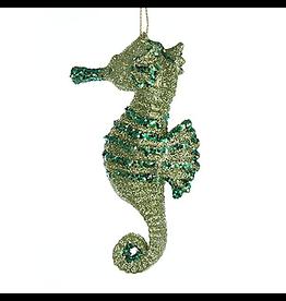 Kurt Adler Glittered Seahorse Christmas Ornament 4 Inch Green