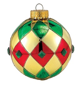 Kurt Adler Red Gold Green Diamond Pattern Glass Ball Christmas Ornaments 3pc Set