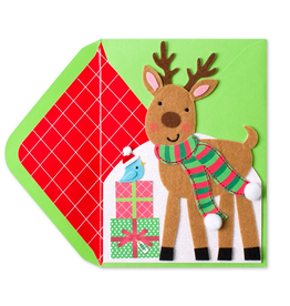 PAPYRUS® Christmas Card Felt Reindeer w Presents