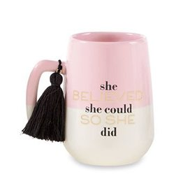 Mud Pie Grad Tassel Mug For Graduates She Believed She Could So She Did