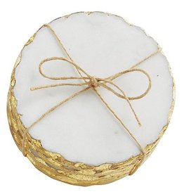 Mud Pie White Marble Coaster Set Of 4 With Foiled Edge In Gold