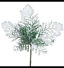 Kurt Adler Snow Cedar Pick Christmas Picks Flowers Floral Decor