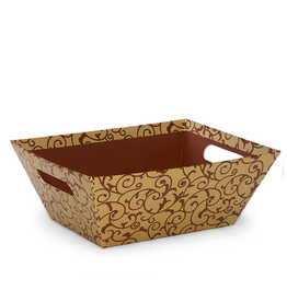Digs Gold Scroll Rectangular Tray Basket w Handles Gift Container
