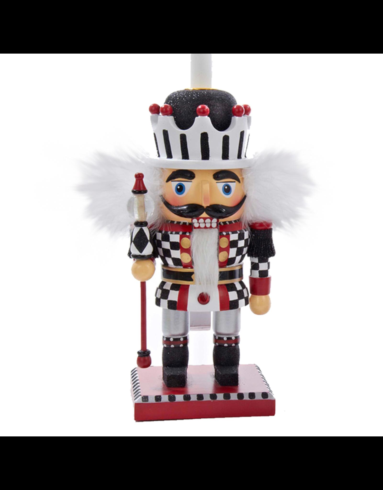 Kurt Adler Red White Black Checkered Nutcracker Candle Holder