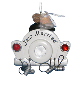 Kurt Adler Just Married Wedding Car Self Personalization Christmas Ornament W3110