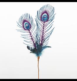 Kurt Adler Glittered Peacock Feather Pick Branch TD1239 Kurt Adler