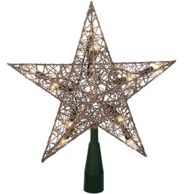 Kurt Adler Silver Wire Star Treetop 9-Inch W 10 Clear WW Bulbs