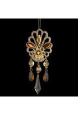 Kurt Adler Amber Gem Drop Ornament Glittered -B