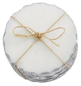 Mud Pie White Marble Coaster Set Of 4 With Foiled Edge In Silver