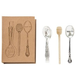 Mud Pie Tea Utensil Set Gift Boxed Tas-Tea Thris-Tea