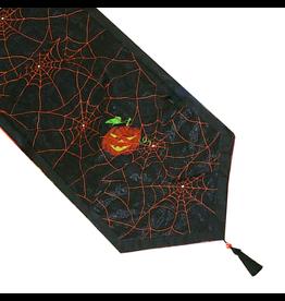 Peking Handicraft Halloween Table Runner Spider Webs W Pumpkins 68 Inch