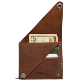 Wing Fold Card Case In Brown