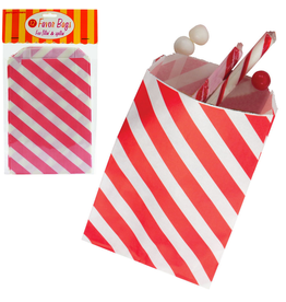 Party Favor Bags 12Pk Red Diagonal Stripes by Party Partners