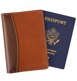 White Wing Label Leather Passport Wallet in Chestnut and Smoke