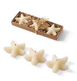 Mud Pie Starfish Candle 3pk Set of 3x3 inch Candles 4985029