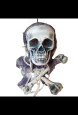 Darice Animated Hanging Skull N Bones W Flashing LED Red Eyes