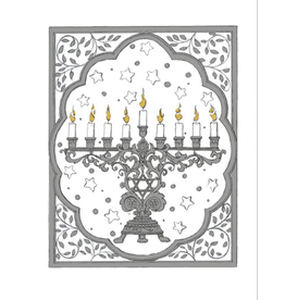 Caspari Boxed Christmas Cards Embossed 10pk Menorah 85236