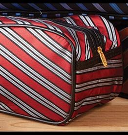 Twos Company Mens Toiletries Bag Harvard Tie Red Silver Black