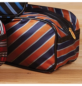 Twos Company Mens Toiletries Bag in Harvard Tie Orange Blue Silver