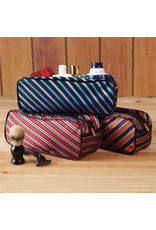 Twos Company Mens Toiletries Bag in Harvard Tie Orange Blue Silver