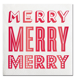 Slant Christmas Cocktail Napkins 20ct Merry Merry