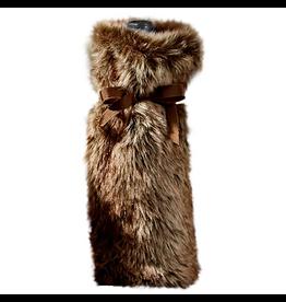 Twos Company Faux Fur Bottle Bag - Red Fox