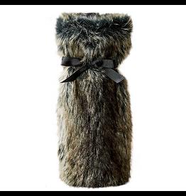 Twos Company Faux Fur Bottle Bag - Grey Wolf