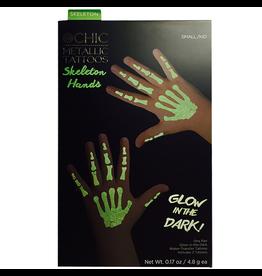 Twos Company Halloween Glowing Tattoos Glam Skeleton Hands SM Kids