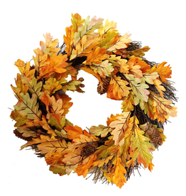 Darice Fall Leaves Oak Leaf w Pine Cone Fall Wreath DC-9398 by Darice